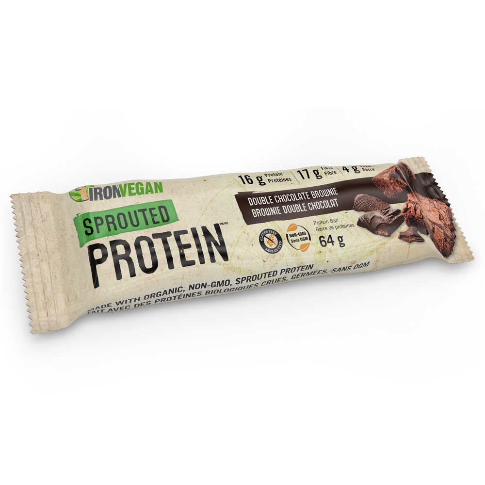 : Iron Vegan Sprouted Protein Bar, Double Chocolate Brownie
