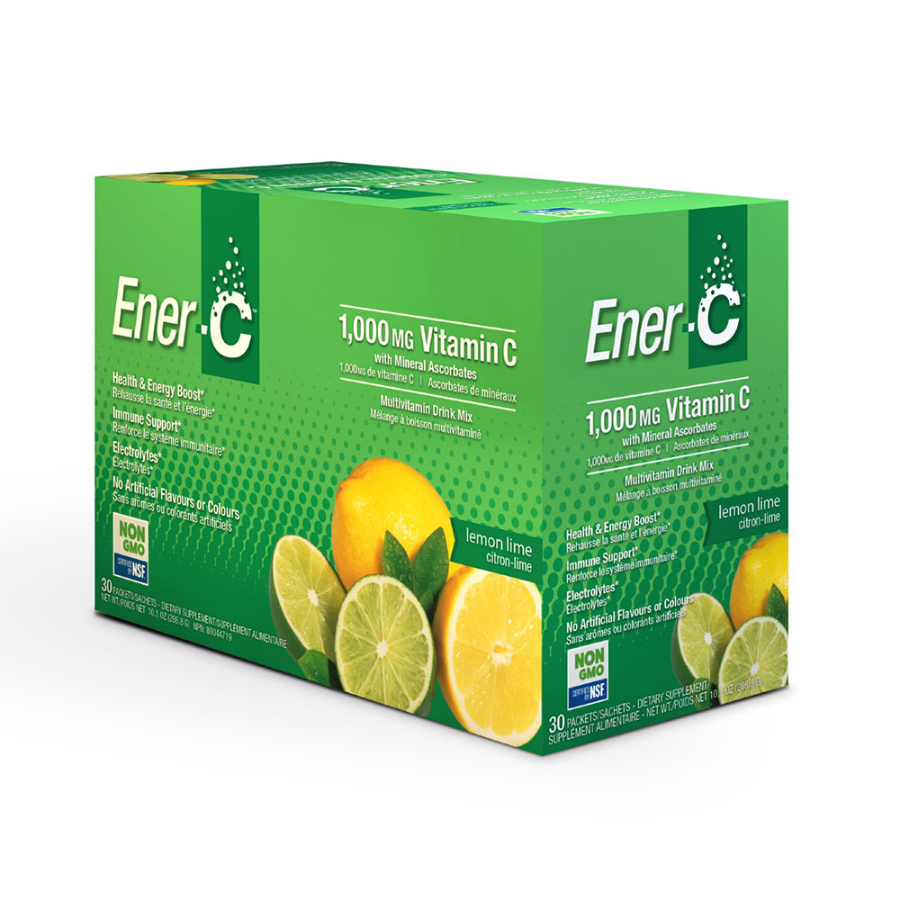 : Ener-C 1000mg Vitamin C Effervescent Drink Mix, Lemon Lime